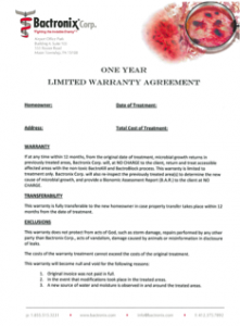 Bactronix One Year Warranty Agreement